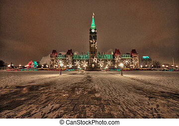 Parlament Building Ottawa - Christmas facade of the...