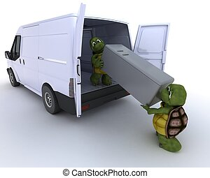 tortoises loading a refridgerator into a van - 3D render of...