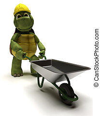tortoise Builder with a wheel barrow - 3D render of a...