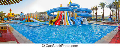 Aquapark sliders, aqua park, water - Panorama aquapark...