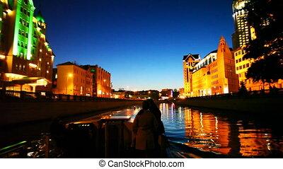 båt, par, Flyttningar, längs, Moskva, flod,...