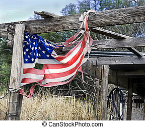American Flag in Tatters - Tattered and torn American flag...