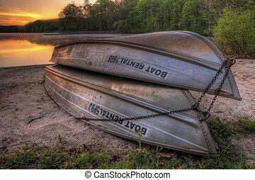 Row Boat Rentals - A pair of rental boats by a beautiful...