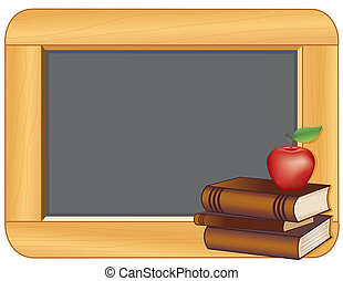 Books, Apple, Wood Frame Blackboard