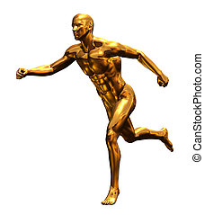 Golden Man Running - Front