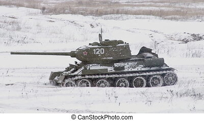 Russian Tank T34 in winter - MOSCOW, RUSSIA - DECEMBER 25:...