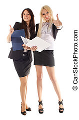 Two businesswoman with adviser and finger Ok