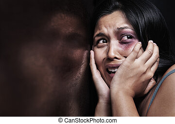 Injured woman terrified, leaning on the wooden wall Concept...