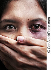 Woman being kidnapped and abused, a concept for domestic...