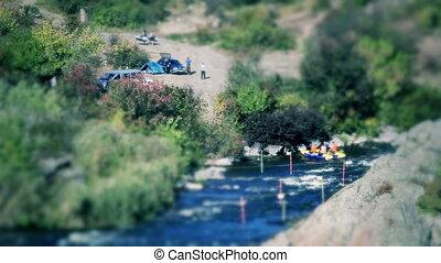 Timelapse of camping near river (tilt-shift)