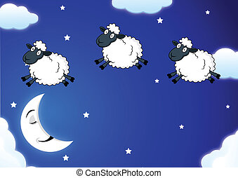 counting sheep - Vector Illustration Of counting sheep