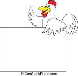 Rooster carton with blank sign - Vector Illustration Of...