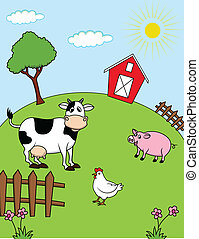 Farm animals - Vector Illustration Of Farm animals