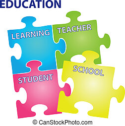 Education Vector - Vector illustration of puzzles with words...