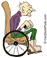 Old man - Grandpa sits in a wheelchair. Vector illustration....