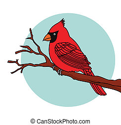 Red Bird cardinals - Vector Illustration Of Red Bird...