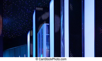 nightclub interiors done in form glowing city on background artificial night sky