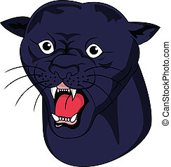 Black panther head - Vector Illustration Of Black panther...
