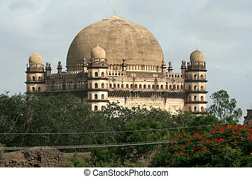 View of Gol Gumbaz, with second biggest dome in the world,...