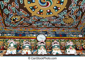 Ceiling of Monastery - Colourful design on ceiling of Rumtek...