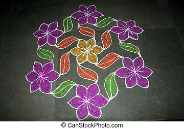 Floral Rangoli Design - Creation of flowers and leaves in...