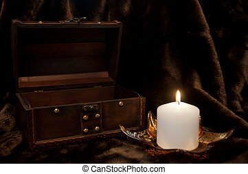 Empty treasure chest and candle