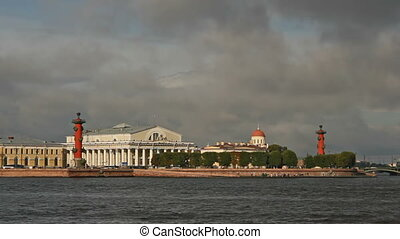 Old Saint Petersburg Stock Exchange and Rostral Columns, timelapse