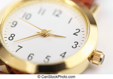 Wrist watch close-up - Dial of classical wrist watch...