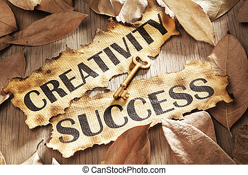 Creativity is key to success concept using words printed on...
