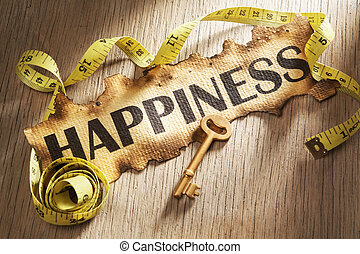 Measuring happiness concept using burnt paper with word...