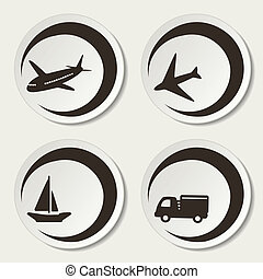 Vector shipping symbols - car, ship, plane
