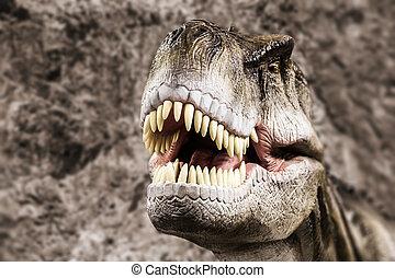 Tyrannosaurus, actuación, el suyo, dentudo, boca
