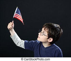 niño, norteamericano, bandera