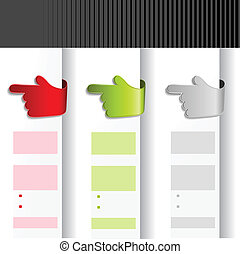 Vector offer labels - web template with gesture hand