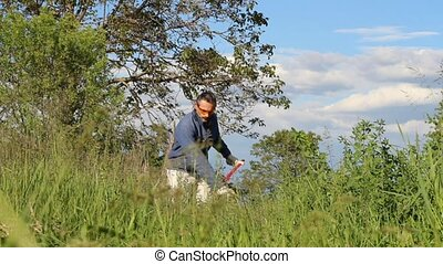 man makes hay - man making hay with a traditional scythe