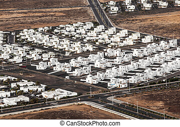 settlement of new houses all in same style