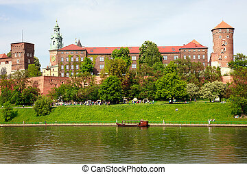 Wawel - Royal castle over the Vistula River in Krakow...