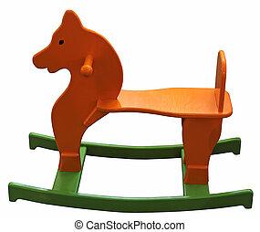Childrens wooden horse - Orange green wooden baby horse
