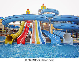 Aquapark sliders, aqua park, water park in the resort Egyp,...