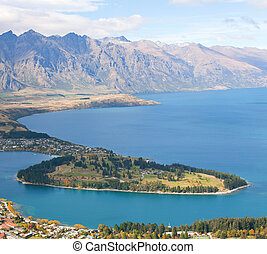 Queenstown New Zealand - Landscape of Queenstown with lake...