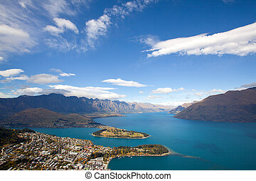 Queenstown with lake Wakatipu - Landscape of Queenstown with...