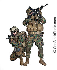 US marines - Two US marines with rifles in action