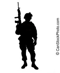 US soldier - Silhouette of US soldier with rifle