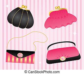 handbags.  - Set of elegant handbags.
