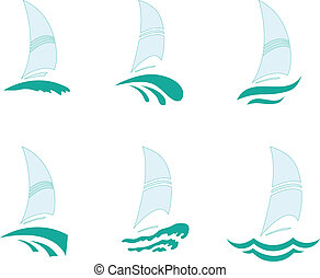 Yachts - Icons with the image of yachts on a white...