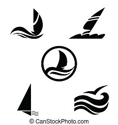 Icons with the image of yachts on a white background