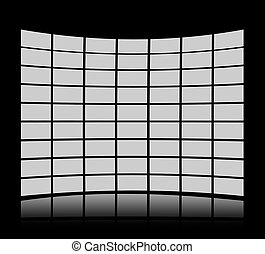 Grey screens forming a panel