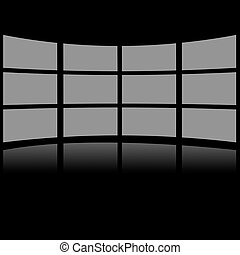 Grey screens placed in lines against a black background