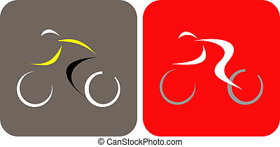 Bicycle Racing - vector icons - Bicycle Racer - isolated...