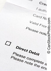 direct debit agreement form - tick box on a direct debit...